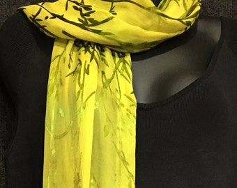 Hand Dyed Silk Scarf in Bamboo Burn Out Pattern in Chartreuse with Fringe