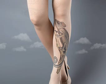 ON SALE/// Tattoo Tights, Chameleon Tights nude Closed Toe one size full length printed tights, pantyhose, nylons, tattoo socks