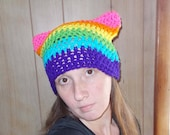 Purrfect Kitty Ear Hat-Pussy Hat-Neon Rainbow-Chakra-Women Size