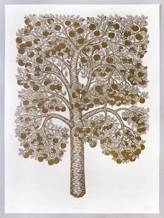 Golden Apple Tree - Woodcut Print, Woodblock Print by Tugboat Printshop