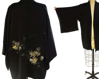 Embroidered Dragon Black Silk Kimono Vintage Bohemian Duster Butterfly Sleeves Traditional Japanese Short Length Robe Boho Hippie Ethnic