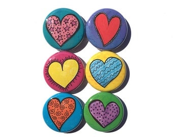 Heart Magnets or Heart Pins - Love Fridge Magnet Set or Pinback Button Set - Cute Magnets, Cute Pinback Button Badges, Party Favor