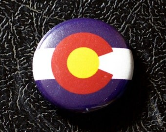 "1"" Colorado flag button, state, pin, badge, pinback"