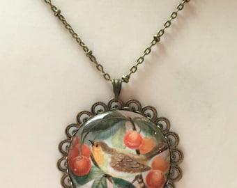 Bird in cherry tree filigree pendant necklace