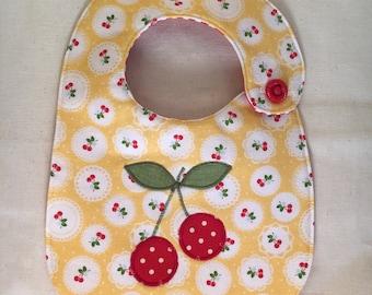 Cherries Infant Bib on Cheery Yellow