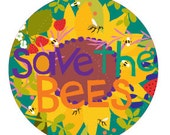 save the bees round flower bumper sticker
