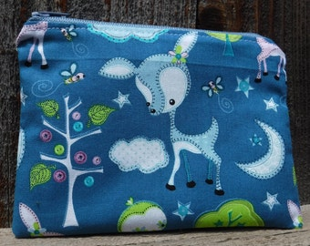 Folksy Deer Zippered Tampon Pouch, Blue, Tampon Case, Toiletry, Feminine Products, Sanitary Napkin Holder, Maxi Pad Holder, Tampon Holder