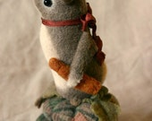 Mouse Droppings Primitive Folk Art - Handcrafted Sewing Collectible Wool Felt Rabbit Doll Pincushion