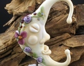 Lampwork Glass Moon Goddess Ivory Purple 54mm tall