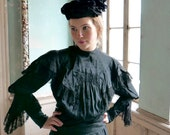 Victorian Black Silk Bonnet Hat