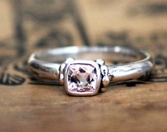 Pink morganite ring, bezel ring, cushion cut ring, stackable ring, morganite engagement ring cushion cut ring, temple, ready to ship size 7