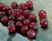 Cherry Pie (25) -Czech Glass Melon Rounds 6mm