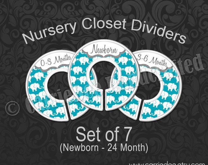 Teal Elephants Nursery Closet Dividers, Baby Closet Dividers, Teal Blue Elephant Baby Decor, Baby Shower Gift, Gender Neutral