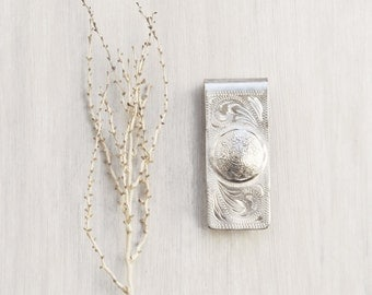 Vintage Alpaca Silver Money Clip - Aztec calendar disk stamped designs -  cash and card holder - gift for men