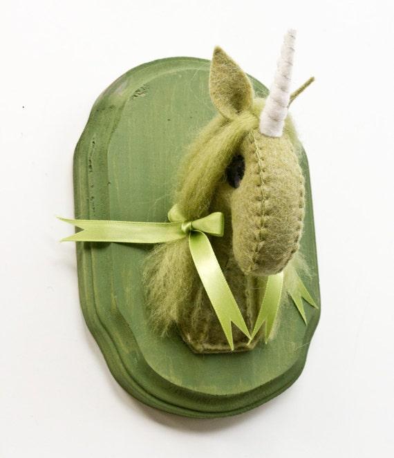 Taxidermy Unicorn- Moss Green