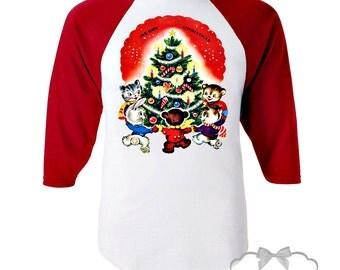 "Christmas Shirt - Christmas Tree Shirt - Josiekat's Trunk Shirt - Red Baseball - Kids Christmas Shirt - Retro Animals ""Merry Christmas"""