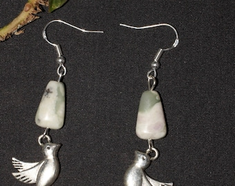 Dove of Peace and Rhyolite Gemstone Earrings - Peace, Tranquility, Love, Divinity - Pagan, Spiritual