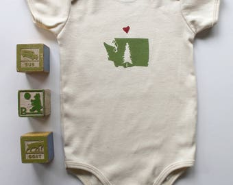 Love from WA State Organic Onesie-Designed and Handprinted in Seattle-Long Sleeve Available
