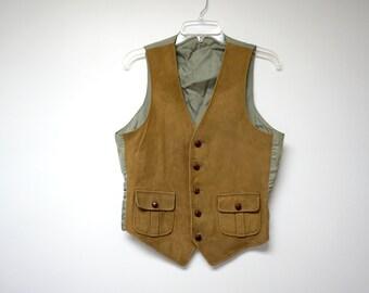 suede front . men's vest . medium