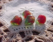 Festive Red Green Givre Nugget Vintage Glass Beads