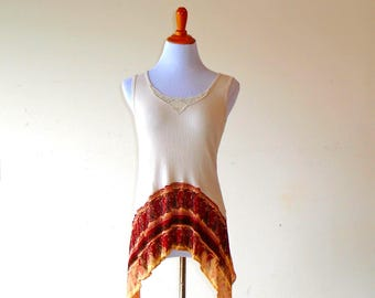 M-L~ Sedona Sunset Top / Tunic & Distressed Skirt ~ gypsy clothing lagenlook handmade upcycled boho chic hippie wearable art