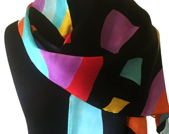 Abstract Multicolored Silk Scarf, Hand Painted Silk Scarf