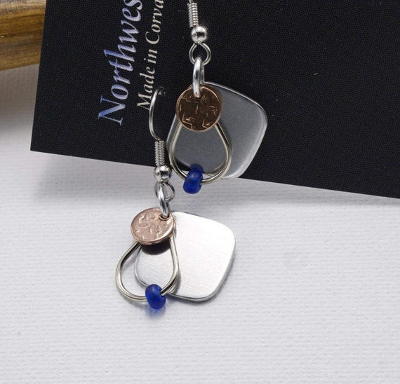 Aluminum, Copper, and Nickel silver earrings Surgical Steel earwires