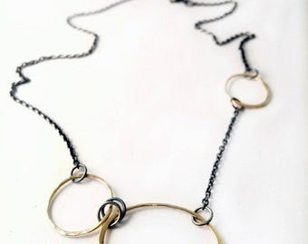 14 karat gold and sterling silver necklace - black and gold necklace - luxury jewelry - edgy jewelry - everyday necklace - gift jewelry