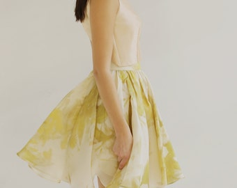 Sample SALE - silk gazaar floral print skirt in ivory/chartreuse