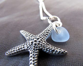 Sea Glass Necklace  / seaglass necklace / blue sea glass jewelry  /  beach glass necklace / starfish necklace  /  star fish jewelry
