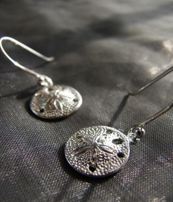 Little Sand Dollar sterling silver earrings