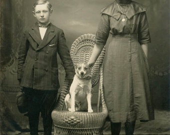 vintage photo 1918 Brother Sister Beloved Pet Dog Sits in King Chair RPPC