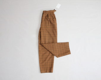 plaid wool trousers | high waist wool pants | waist buckle pants