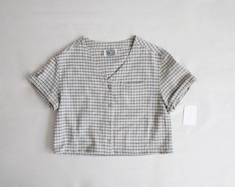 plaid crop top | boxy linen blouse | plaid blouse