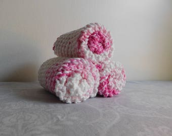 Pink Stripes Dishcloth Trio