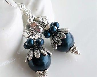 Navy Blue Pearl Earrings, Navy Earrings, Dark Blue Silver Earrings, Swarovski Pearl Earrings, Antique Silver Flower Earrings, Navy Silver
