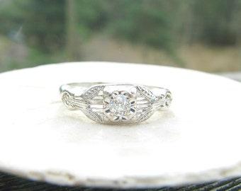 Art Deco Diamond Engagement Ring, Fine Old European Cut Diamond, Lovely Filigree Details in 18K White Gold, Custom Sizing, Circa 1930's
