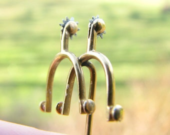 Antique Vintage Equestrian Gold Spurs Stickpin, 10K Gold & Silver Spinning Rowels, in Antique Velvet Box, Cowboy or Cowgirl, Horse Jewelry