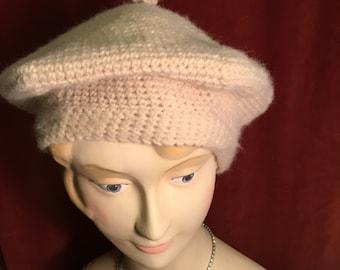 handmade crochet cream beret hat 1920s style