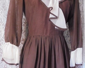 Brown mini dress ruffles mod  60s xs  from vintage opulence on Etsy