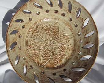 Large Bowl with Hand Carvings - Handmade Pottery