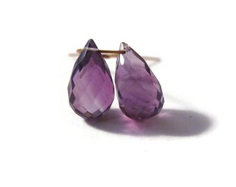 2 Purple Amethyst Briolette Beads, Two Faceted Teardrops, Matched Pair of Stones, 9mm x 5mm - 11mm x 6.5mm (B-Am5a)