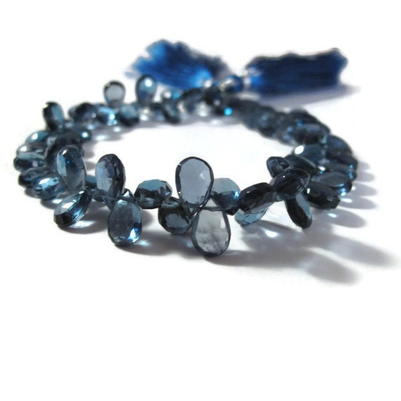 London Blue Topaz Beads, Faceted Pear Shaped Briolettes, 2 Inch Strand of 7mm x 5mm - 9mm x 5.5mm Gemstones for Making Jewelry (Luxe-Bt1c)
