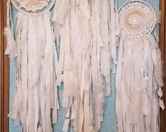 Three's A Charm - Vintage Fabric, Crochet and Lace Shabby Chic Dream Catcher Set