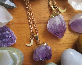 Raw Gold Dipped Amethyst Stone Pendant Long Necklace - Moon Charm - Brass Chain Crystal Jewelry - Minimalist Gemstone Gypsy - Purple Violet