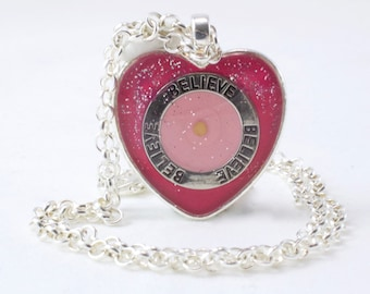 Pink Heart Necklace, Believe Pendant, Mustard Seed Jewelry, Gift of Encouragement, Sister Gift, CoWorker Gift, Mother's Day Present