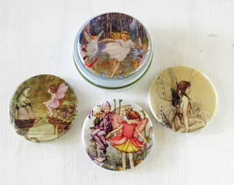 "Fairy Magnet Set- 4- 2.25"" magical fairies magnets in gift tin"