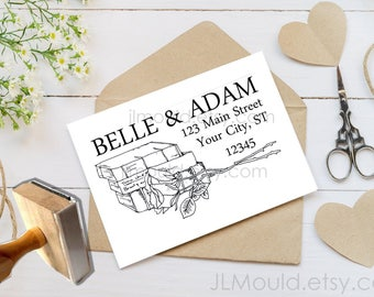 0328a NEW Design! JLMould Beauty and the Beast True Love Wedding Custom Personalized Rubber Stamp Wedding Invitations Save the Date RSVP