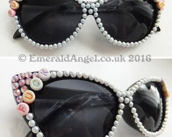 Pearls n Crystals F**k Glasses, Sun Glasses, Vintage, Rockabilly.