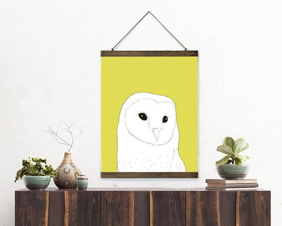 """wall hanging, poster, hanging poster, large art, large wall art, modern, owl art, owl, boho chic, canvas wall art, colorful - """"Barn Owl"""""""